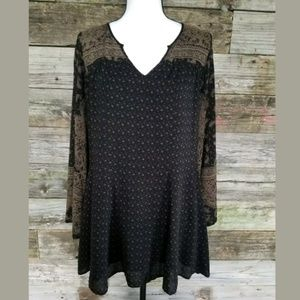 Free People long Sleeve Black/olive Tunic